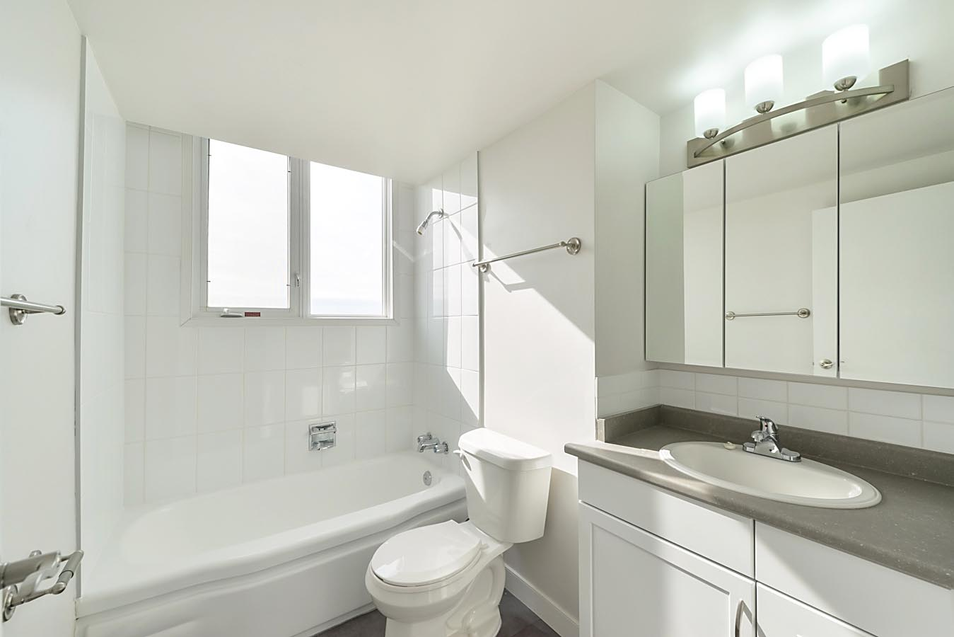 Bathroom in classic apartment suite at Capital View Towers in Edmonton