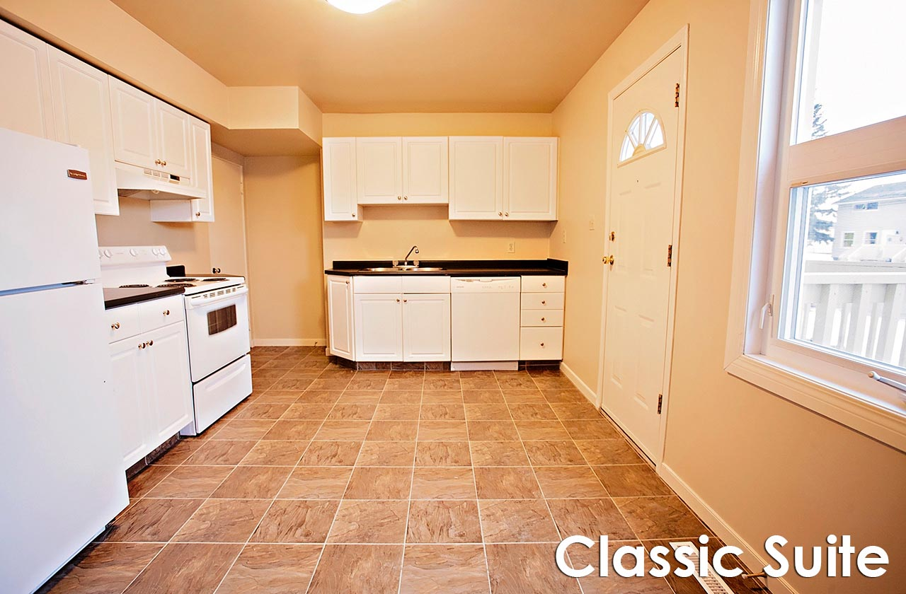 Kitchen in a classic apartment suite at Meadow Park Estates in Saskatoon