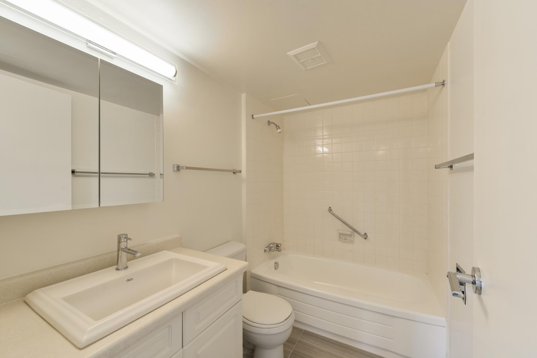 Bathroom in a classic apartment suite at Viking Arms in Edmonton