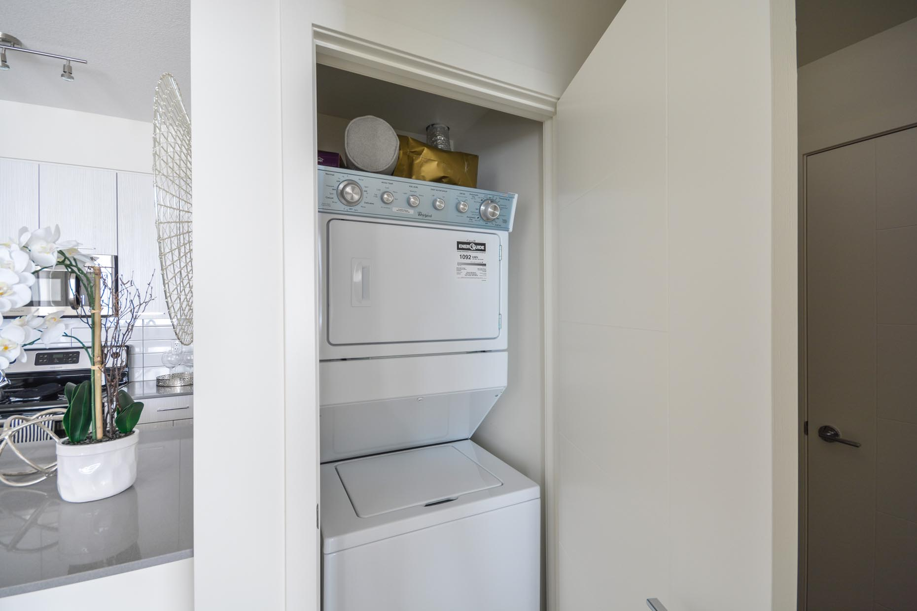 Ensuite washer and dryer in premium apartment suite at Pines Edge II